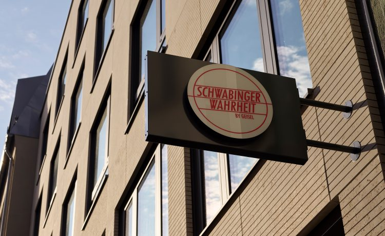 Sign to the street side with Schwabinger Wahrheit logo.