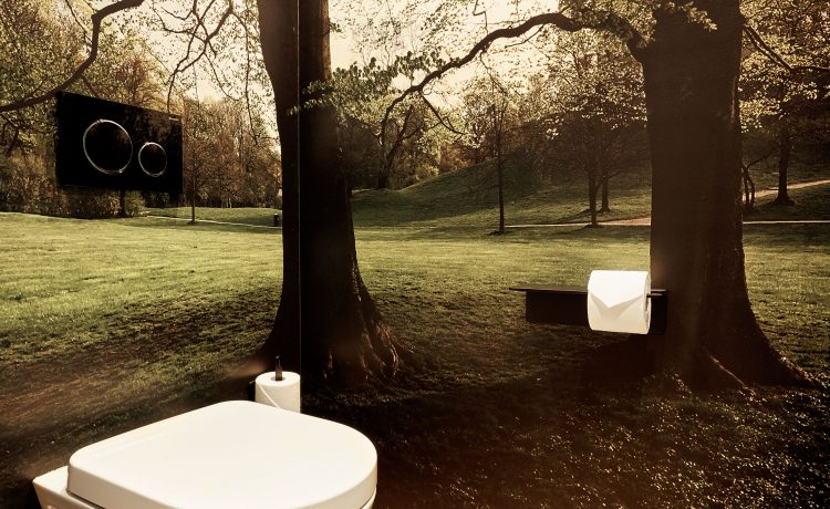 Stylish photo wallpaper with picture of the English Garden in Munich in the bathroom.